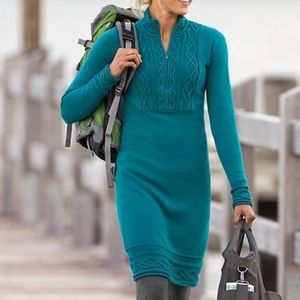 Athleta sawtooth cable knit teal sweater dress, M